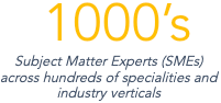 1000s of SMEs across hundreds of speciaties and industry verticals